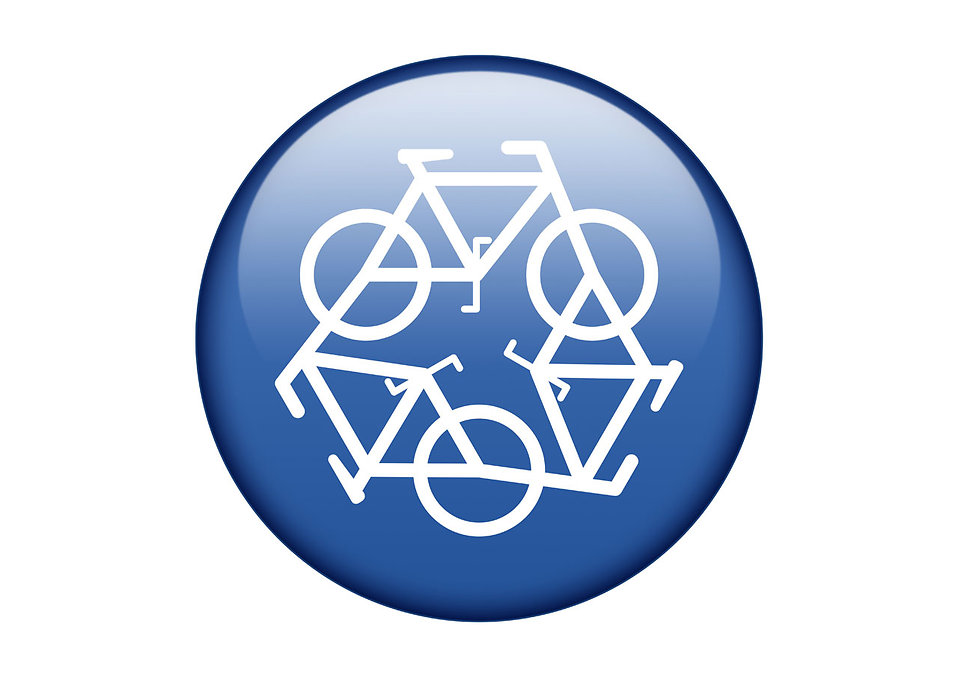 A blue recycling symbol of bicycles on a white background : Free Stock Photo