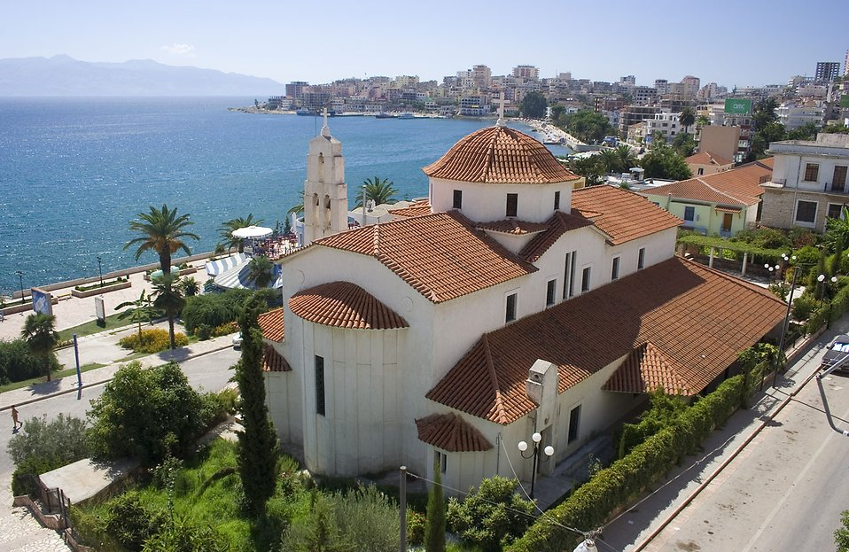 A church on the coast in Sarande, Albania : Free Stock Photo