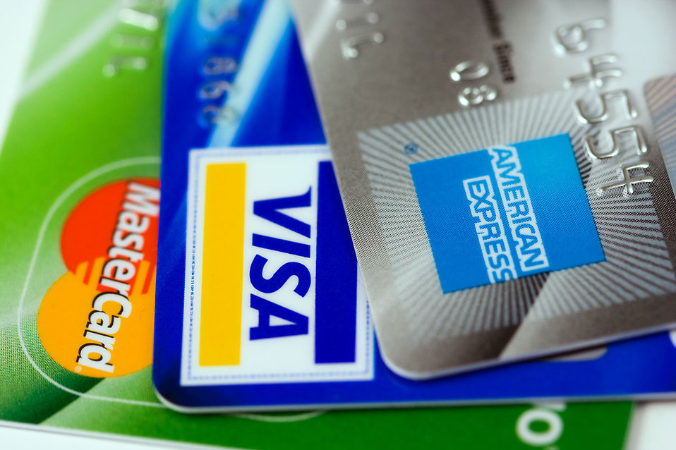 Close-up of three credit cards : Free Stock Photo
