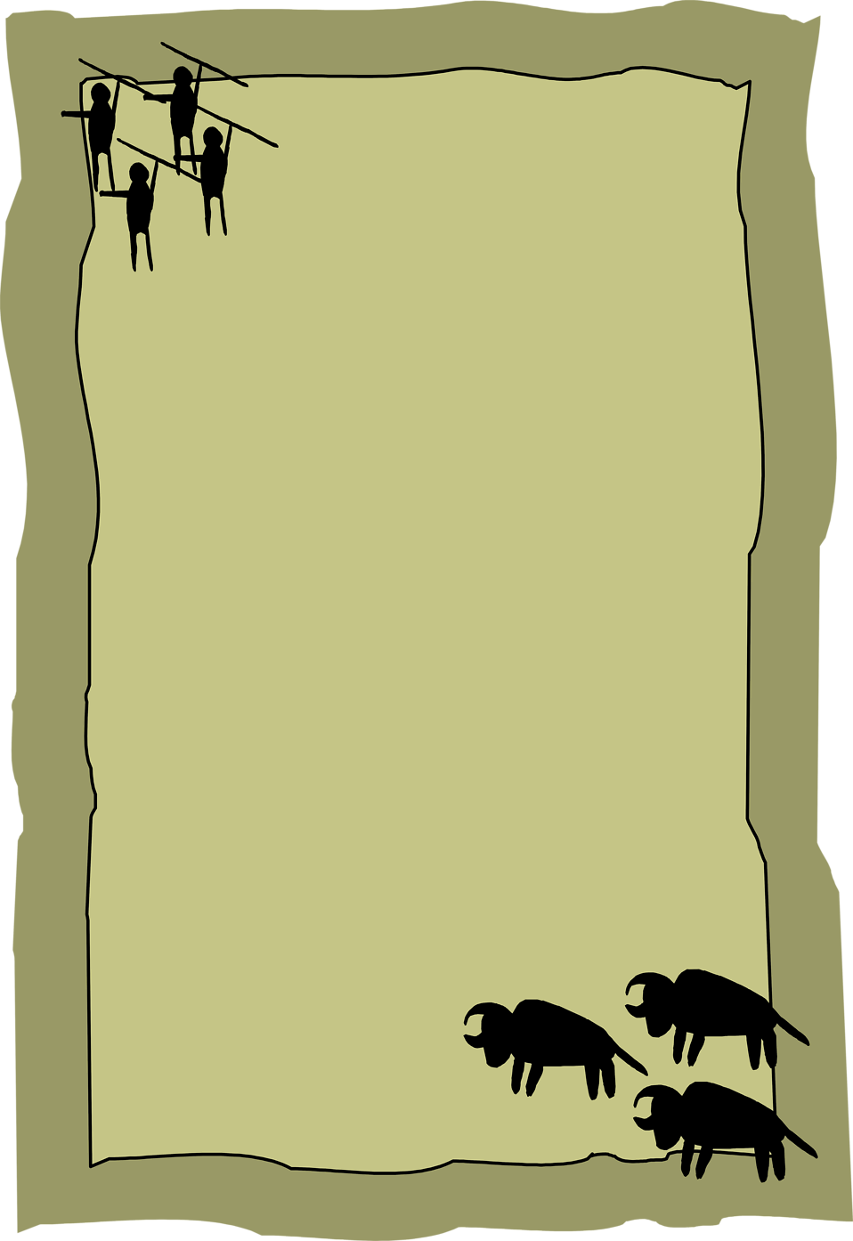 Illustration of a blank frame border with prehistoric cave drawings : Free Stock Photo