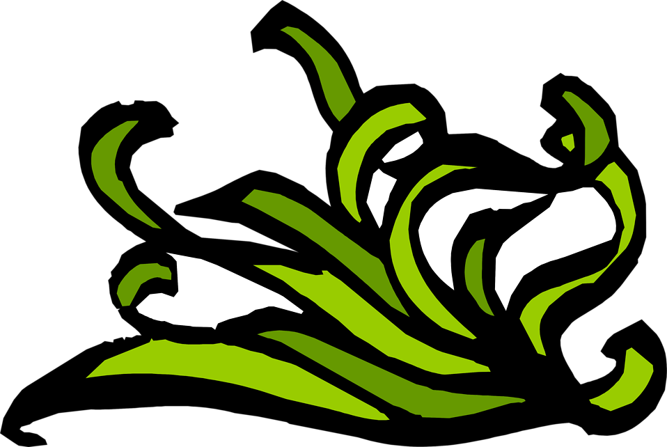 Illustration of a lower right frame corner with green leaves : Free Stock Photo