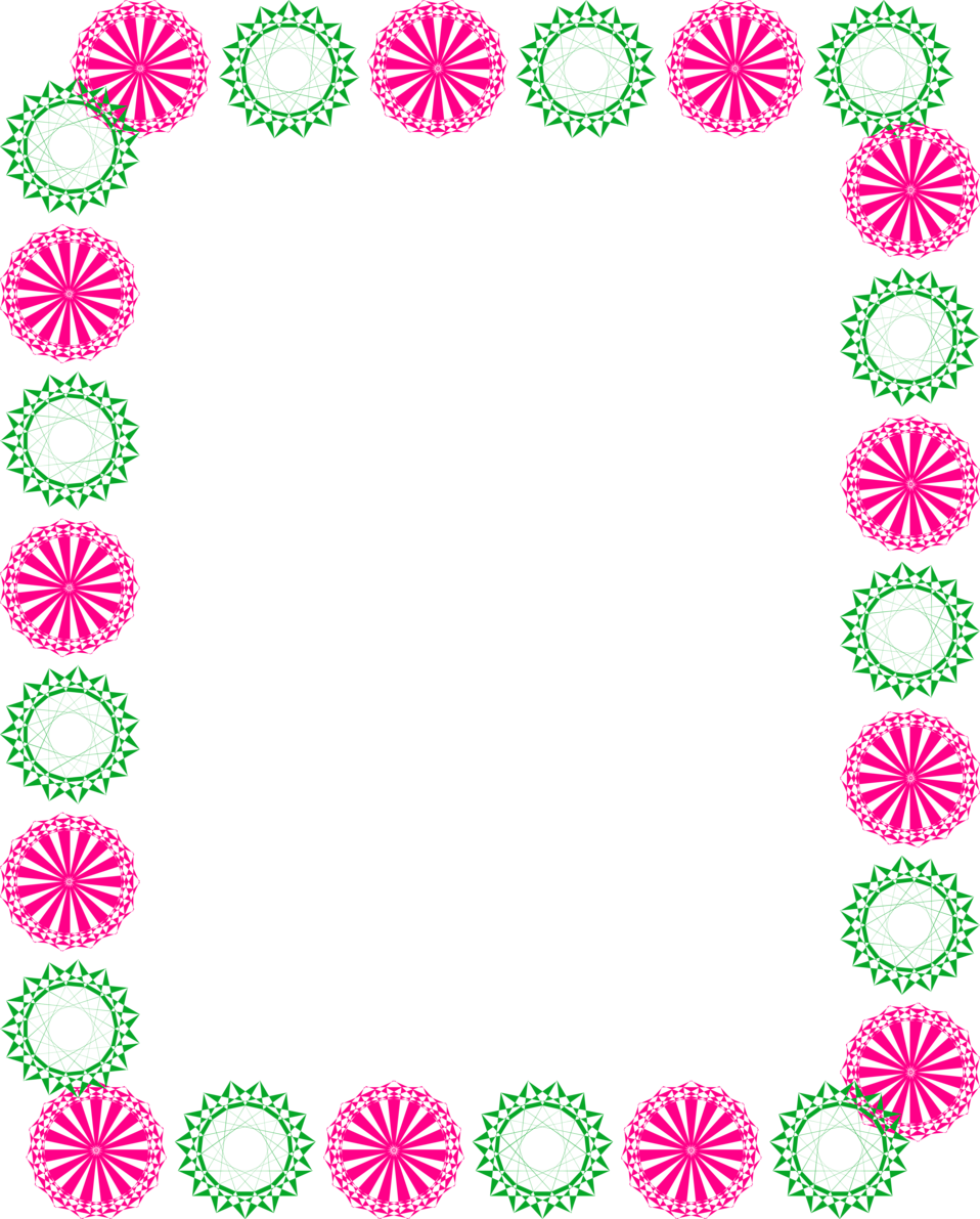 Illustration of a blank frame border with pink and green shapes : Free Stock Photo