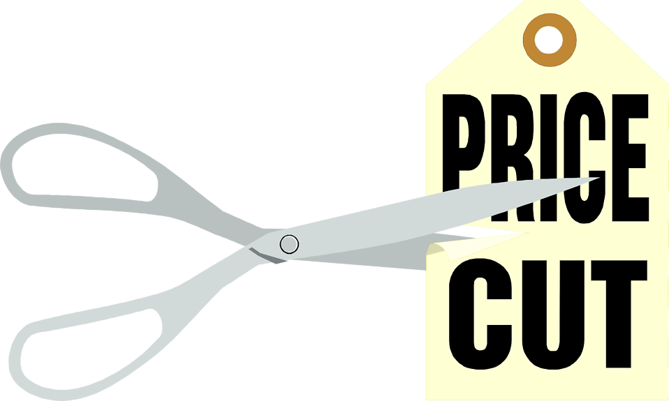 Illustration of a price cut sales tag with scissors : Free Stock Photo