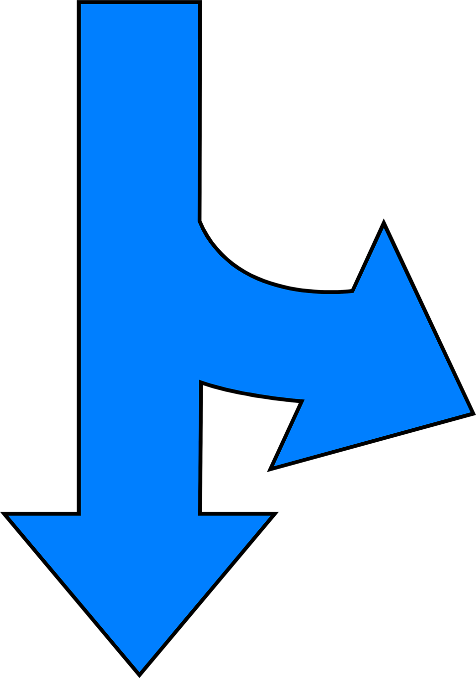 Illustration of a split down and right blue arrow : Free Stock Photo