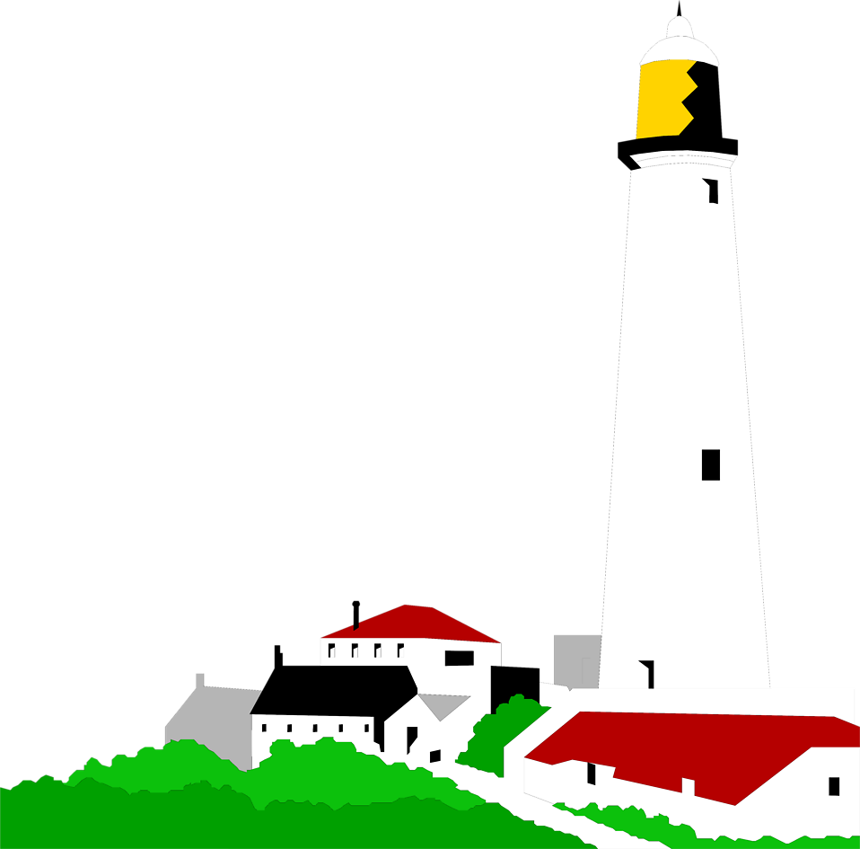 Illustration of a lighthouse and small buildings : Free Stock Photo