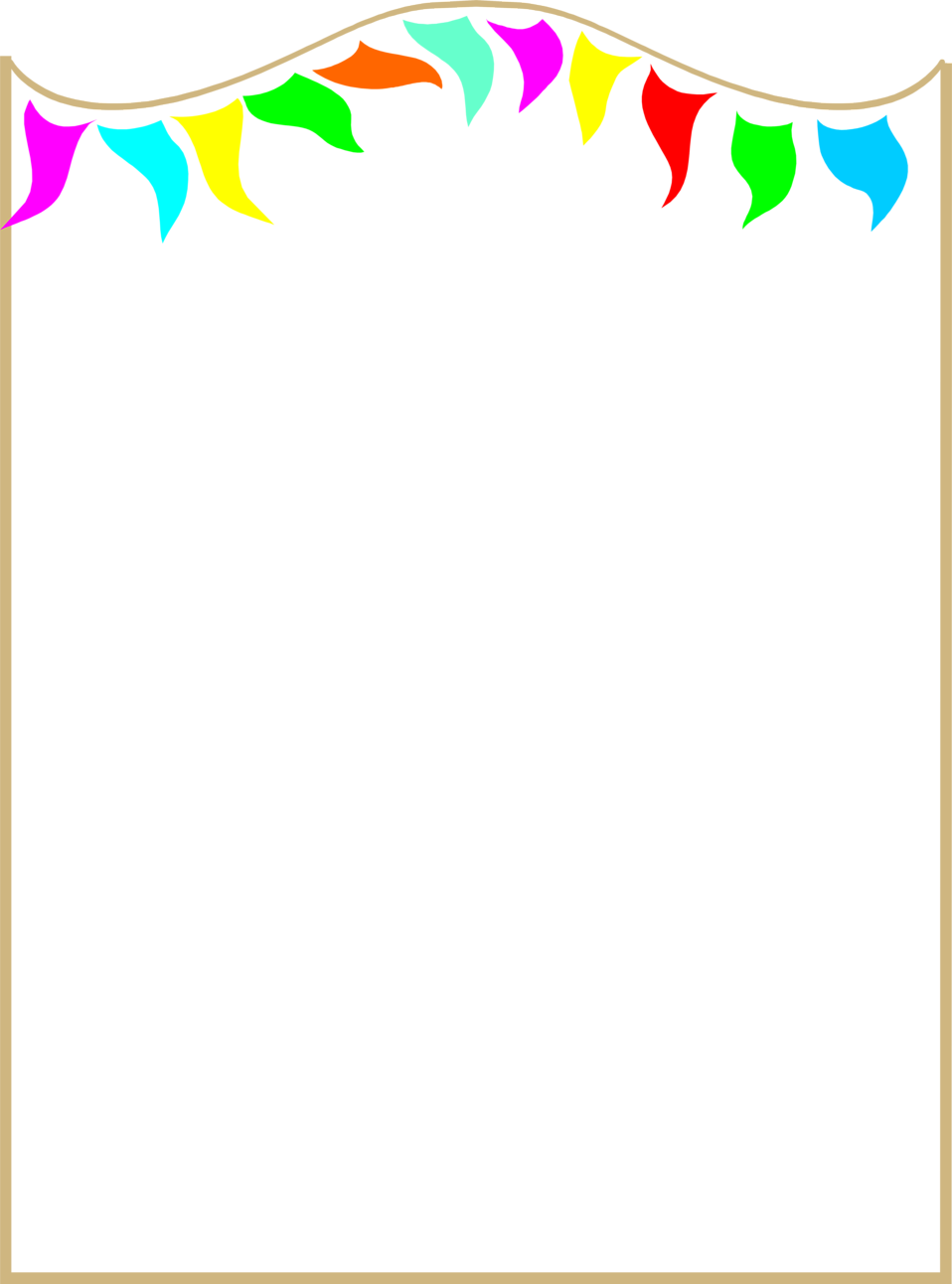 Illustration of a blank frame border with colorful pennants : Free Stock Photo