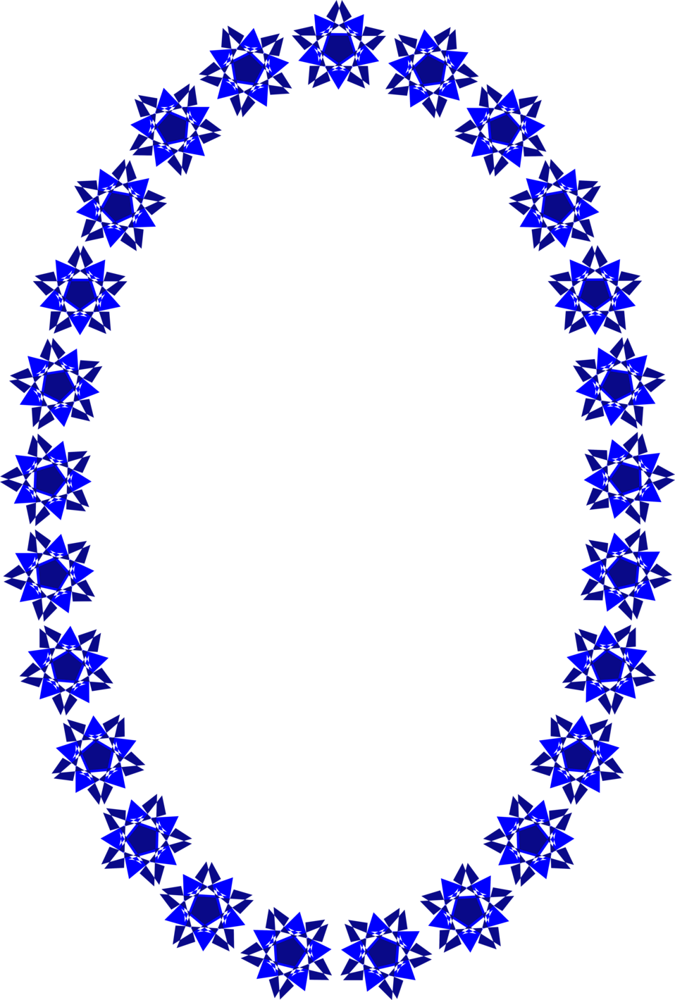 Illustration of a blank frame border of blue star shapes : Free Stock Photo