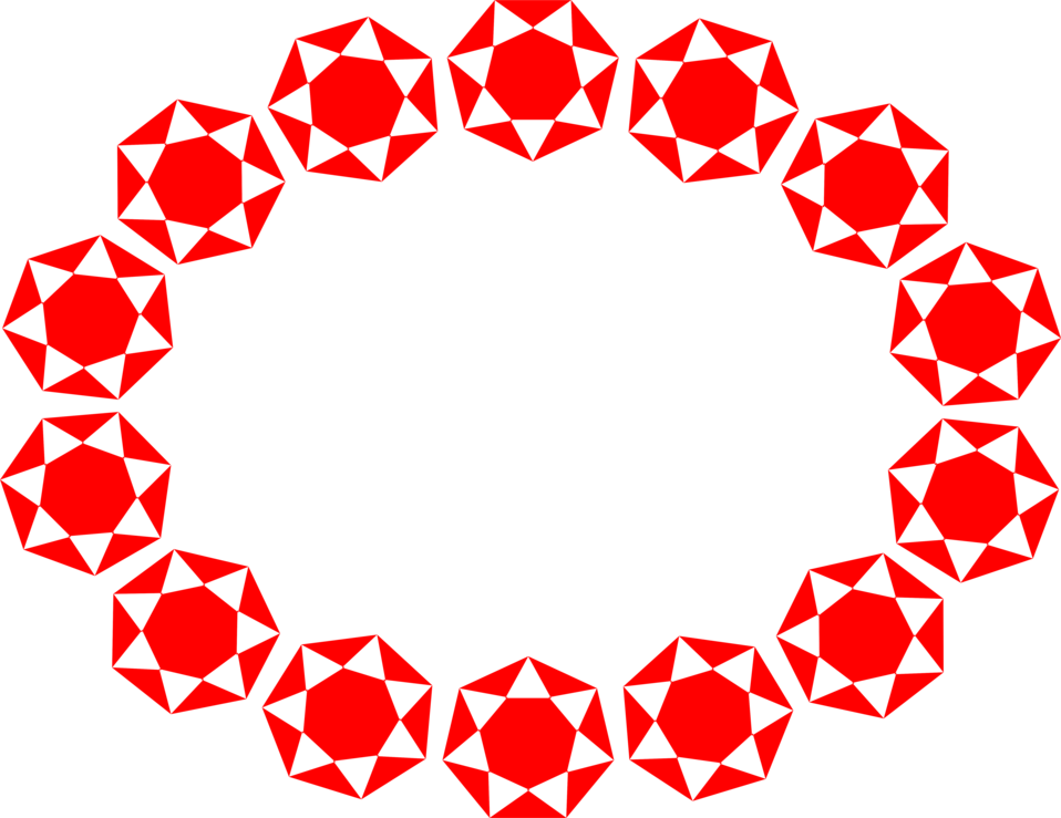 Illustration of an oval frame border of red jewel shapes : Free Stock Photo
