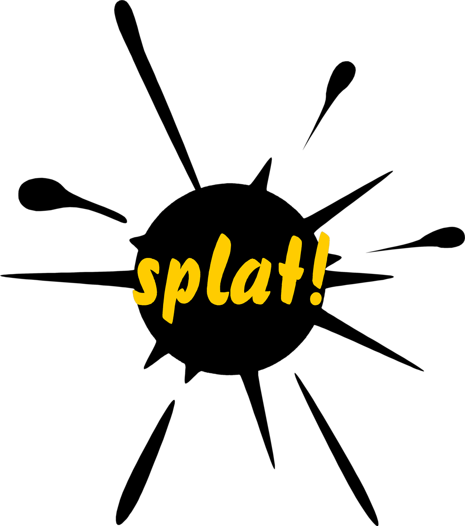 Illustration of a paint splatter with splat text : Free Stock Photo