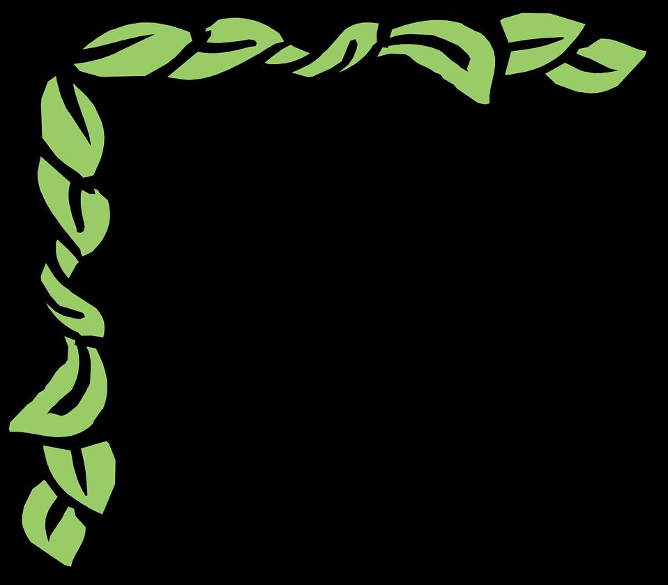 Illustration of an upper left frame corner with green leaves : Free Stock Photo