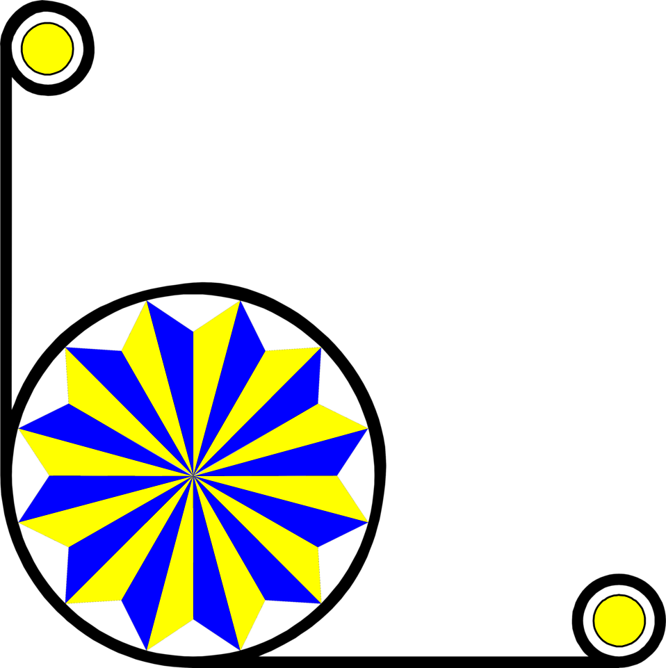 Illustration of a lower left frame corner with a yellow and blue pinwheel shape : Free Stock Photo