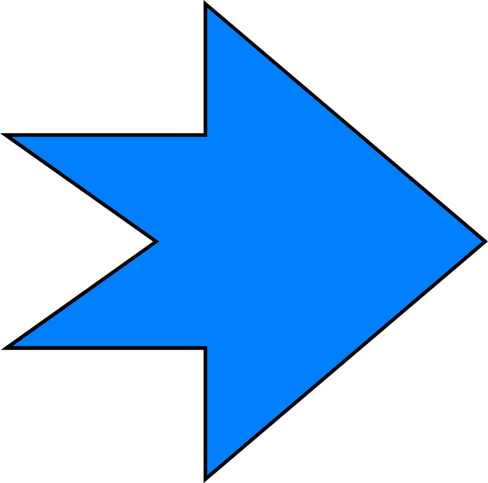 Illustration of a blue right facing arrow : Free Stock Photo