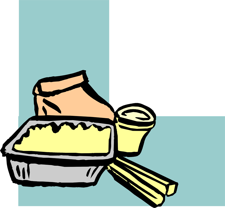 Illustration of a lower left frame corner with chinese take out food.