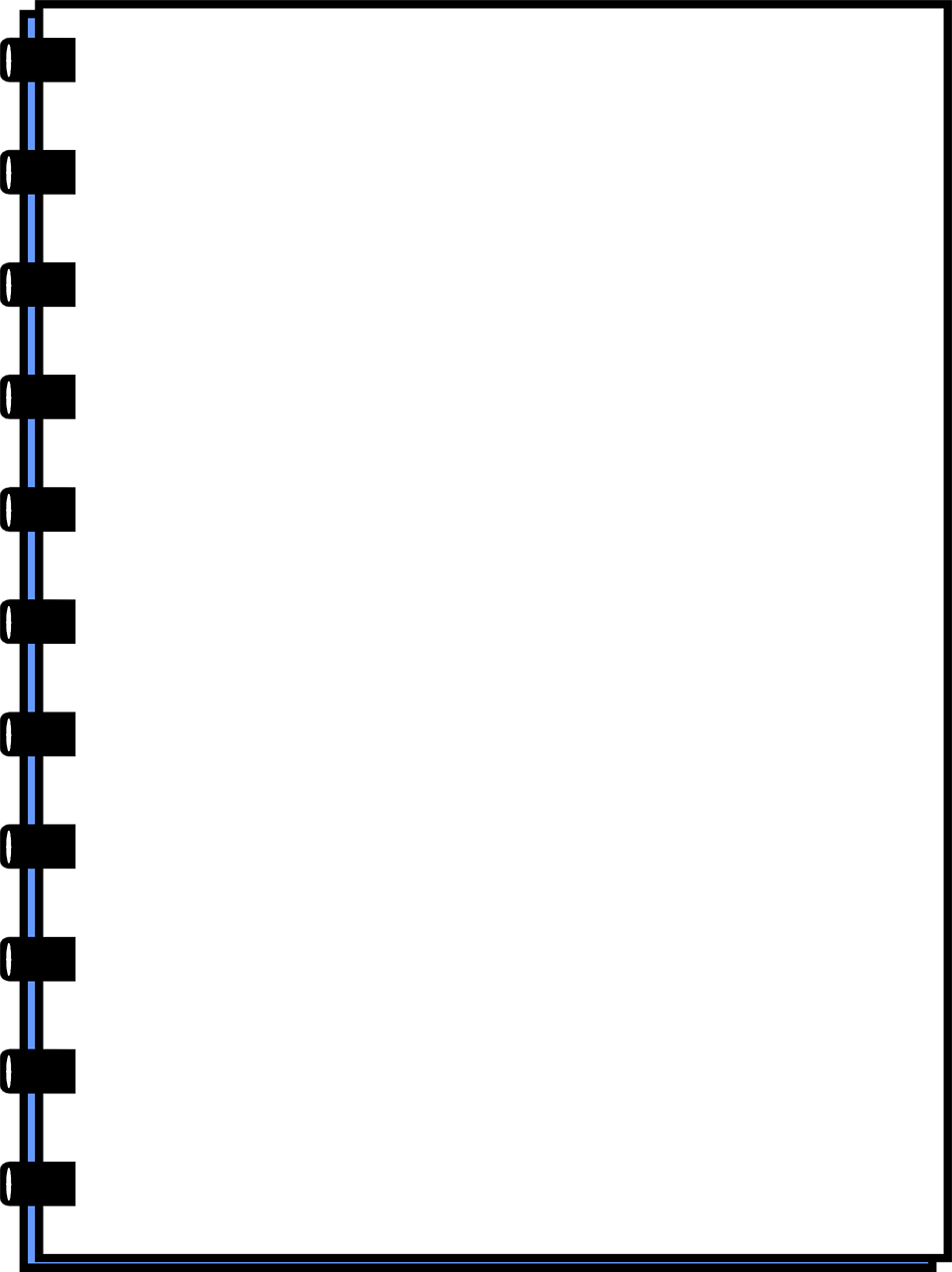 Illustration of a blank notebook frame border.