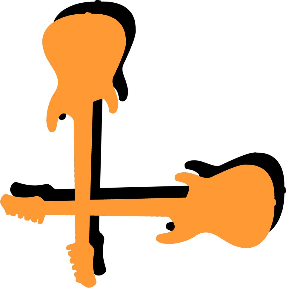 Illustration of a lower left frame corner with orange guitars : Free Stock Photo