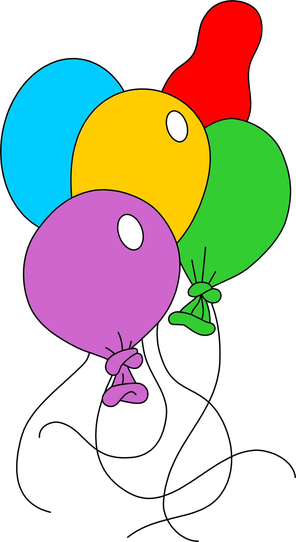 Illustration of various shaped and colored balloons : Free Stock Photo