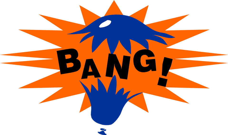 Free Stock Photo: Illustration of a balloon popping with bang text.