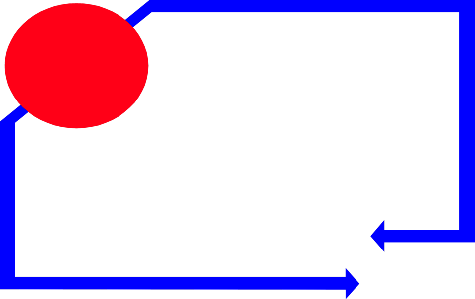 Illustration of a blank frame border with blue arrows and a red circle : Free Stock Photo