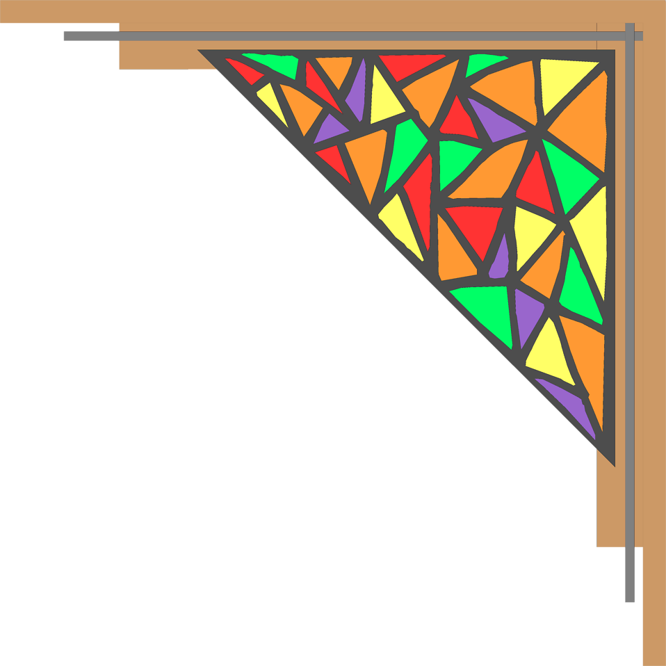 Illustration of an upper right frame corner with stained glass : Free Stock Photo