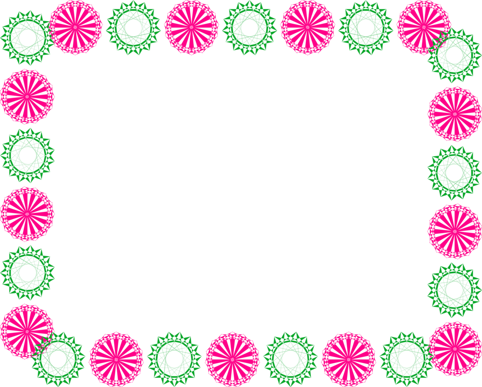 Illustration of a blank frame border of pink and green shapes : Free Stock Photo