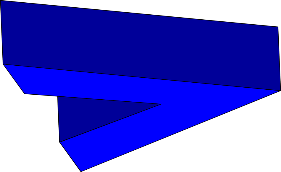 Illustration of a 3d right facing blue arrow.