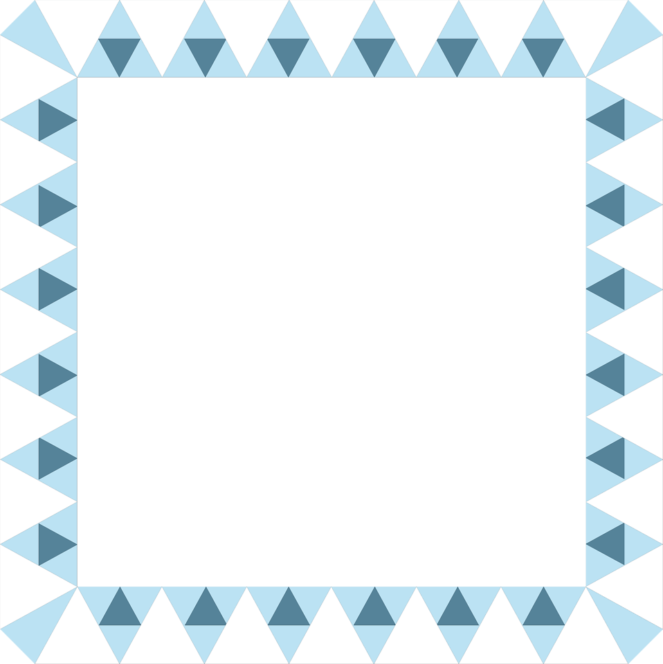 Illustration of a blank frame border of blue triangles : Free Stock Photo