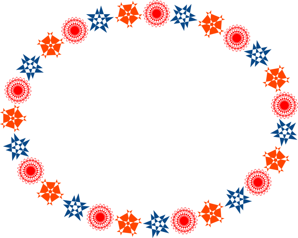 Illustration of a blank frame border of red and blue shapes : Free Stock Photo