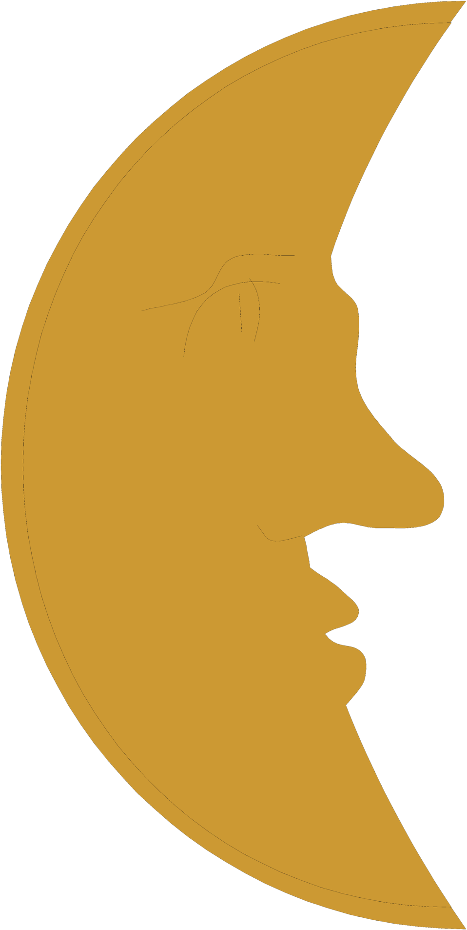 Illustration of a face on a crescent moon : Free Stock Photo