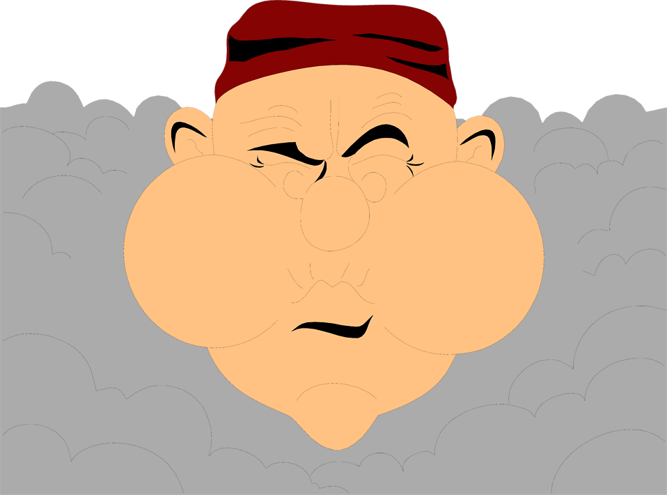 Illustration of a cartoon man holding his breath around smoke : Free Stock Photo