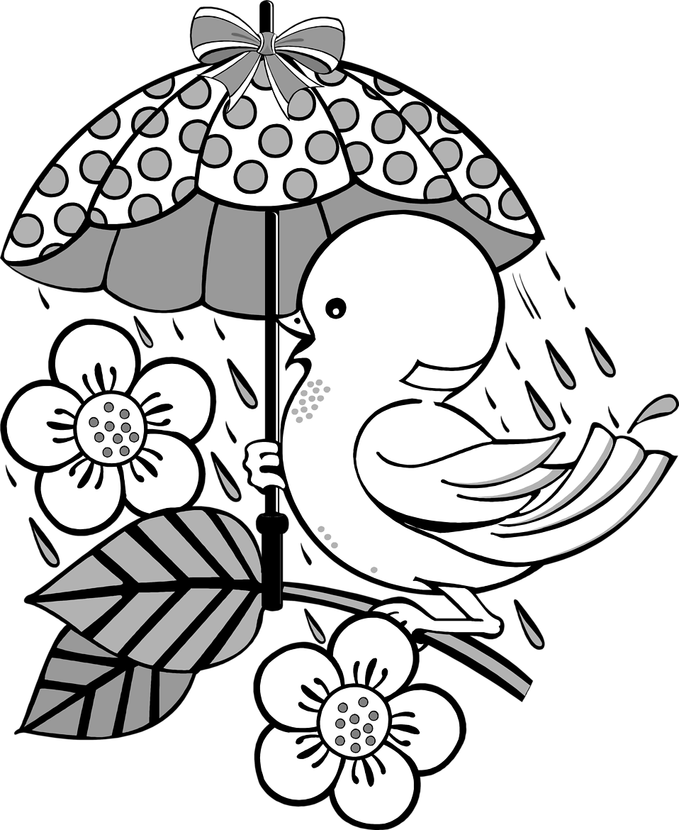 Illustration of a bird on a branch under an umbrella.