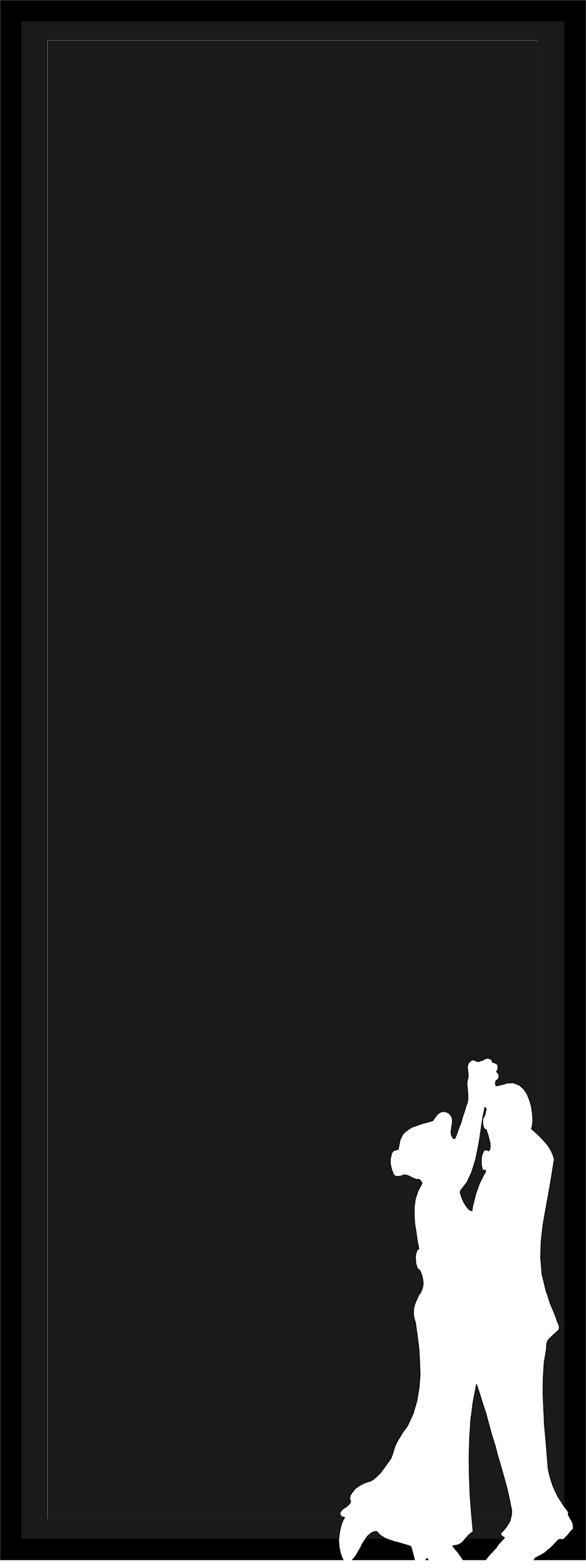 Illustration of a blank frame border with a silhouette of a dancing couple.