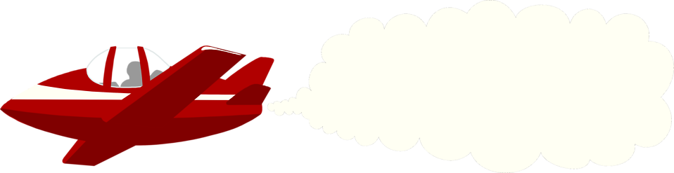 Illustration of an airplane with a blank smoke cloud.