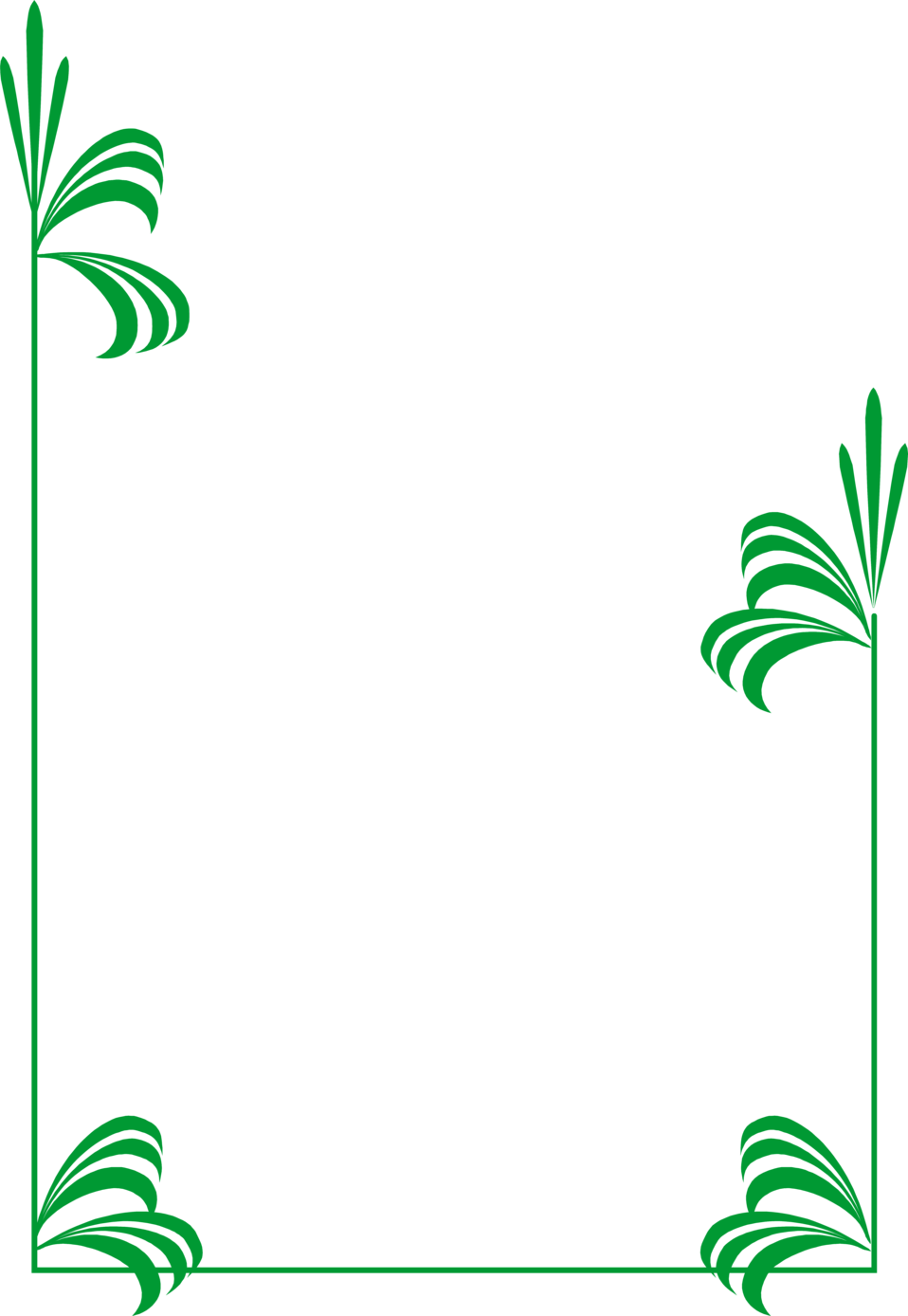 Illustration of a blank frame border with green leaves.