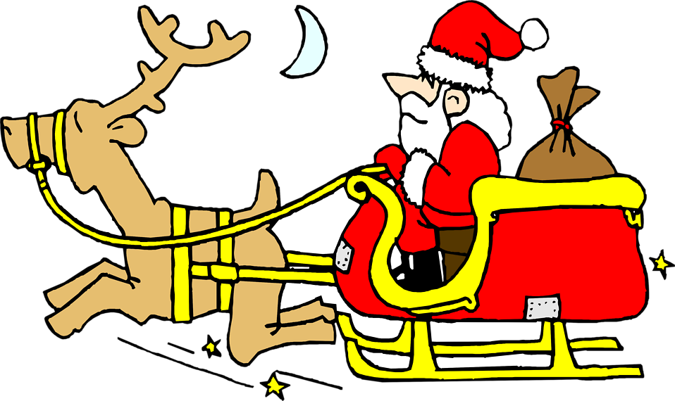 Illustration of Santa on a sled with a reindeer : Free Stock Photo