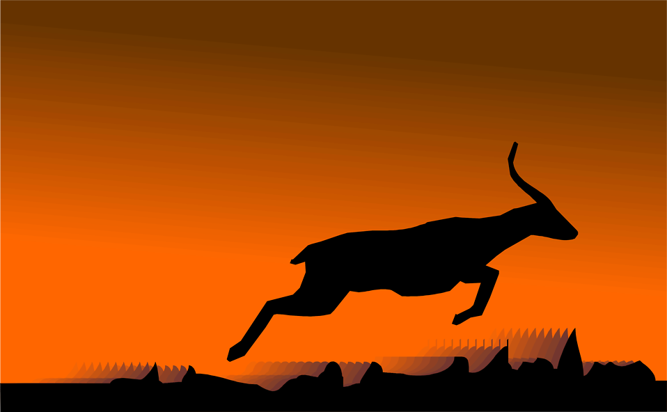 Illustration of a jumping deer or antelope silhouette : Free Stock Photo