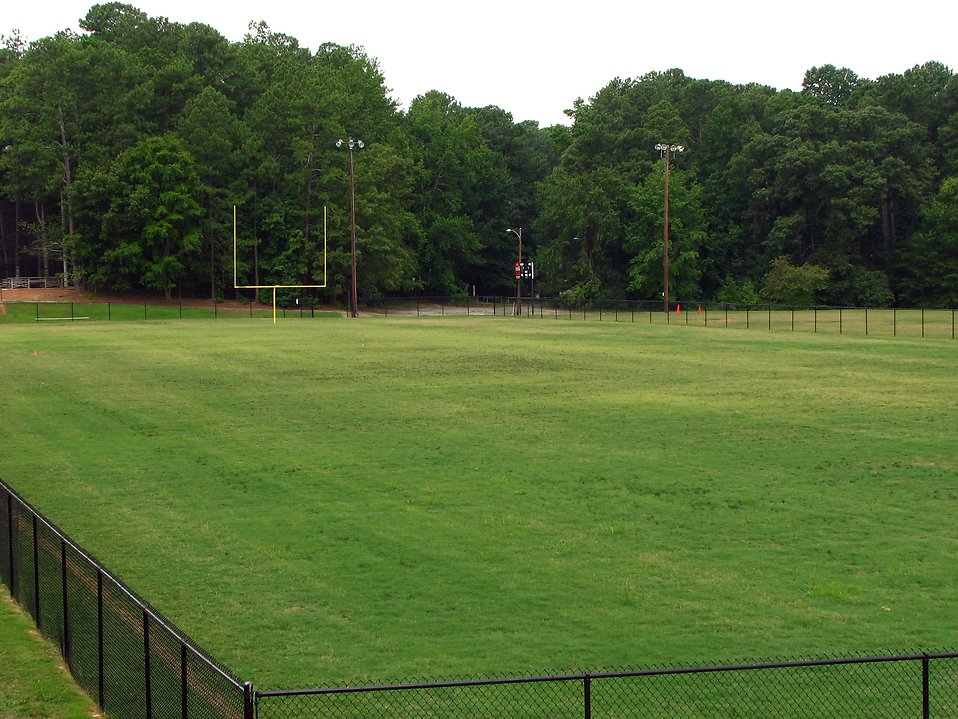 An empty football field : Free Stock Photo