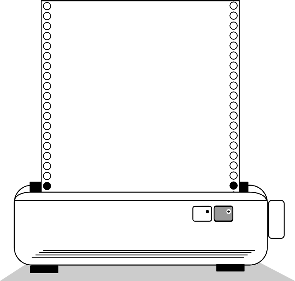 Illustration of a blank printer paper frame border.