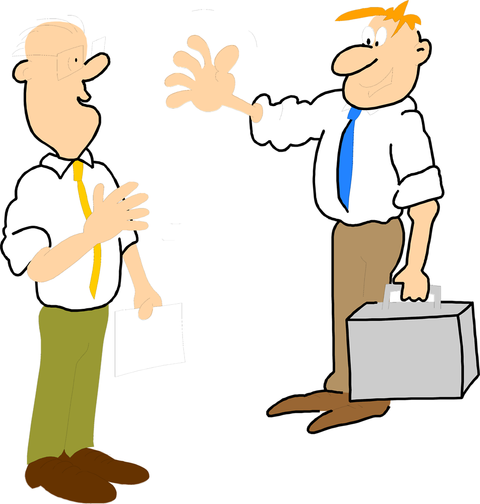 Illustration of two cartoon business men greeting each other : Free Stock Photo