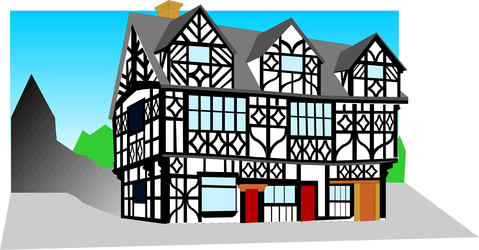 Illustration of a tudor style building : Free Stock Photo