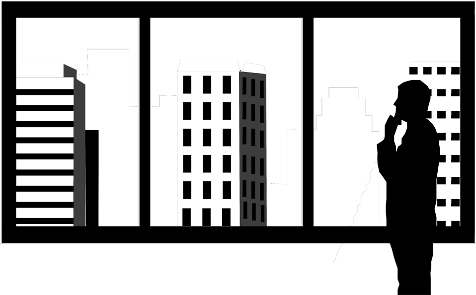 Illustration of a silhouette of a man looking out at skyscrapers : Free Stock Photo