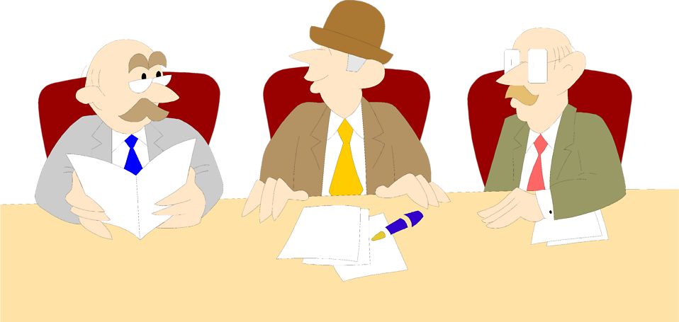 Illustration of three cartoon business men in a meeting : Free Stock Photo