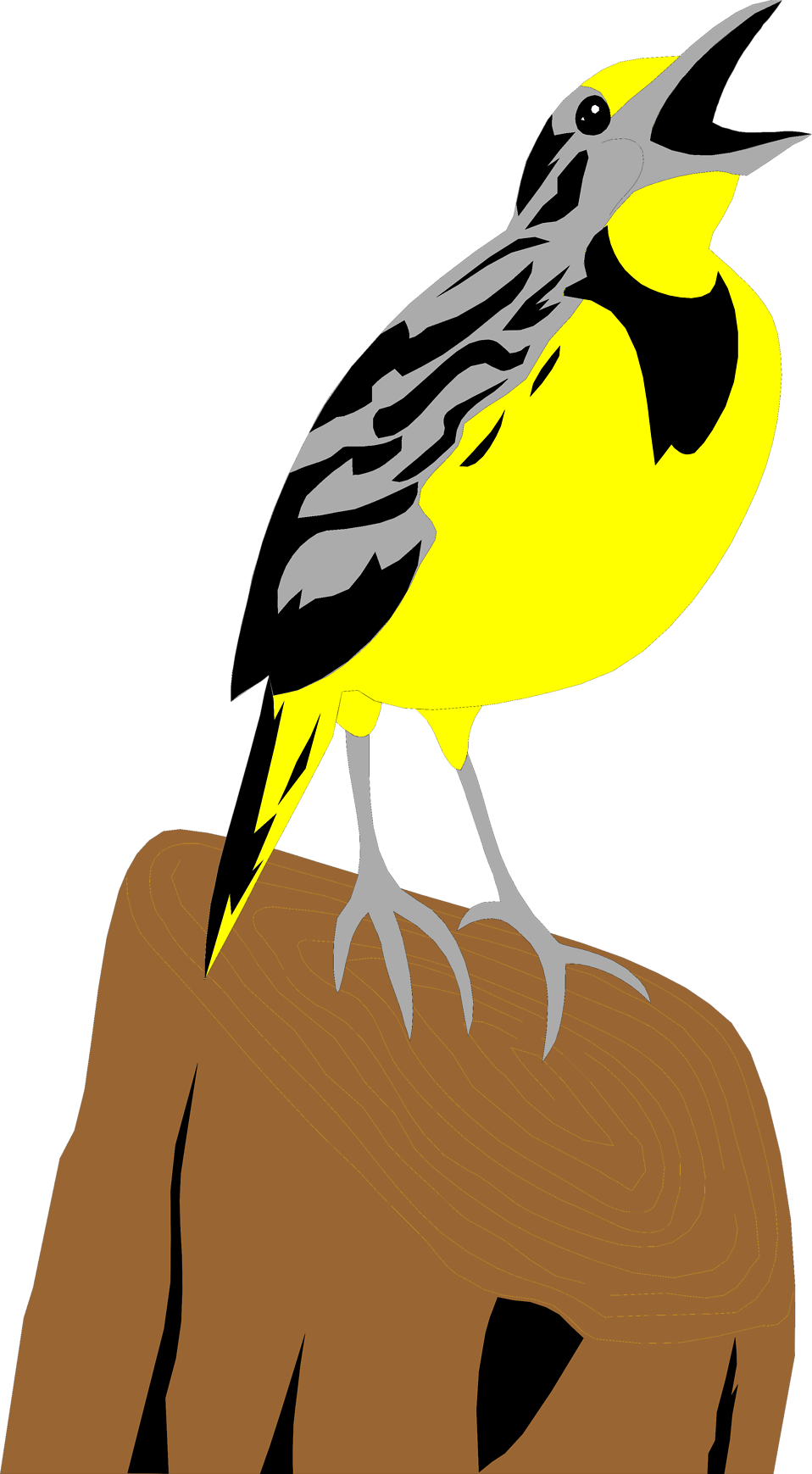 Illustration of a yellow meadowlark on a stump : Free Stock Photo