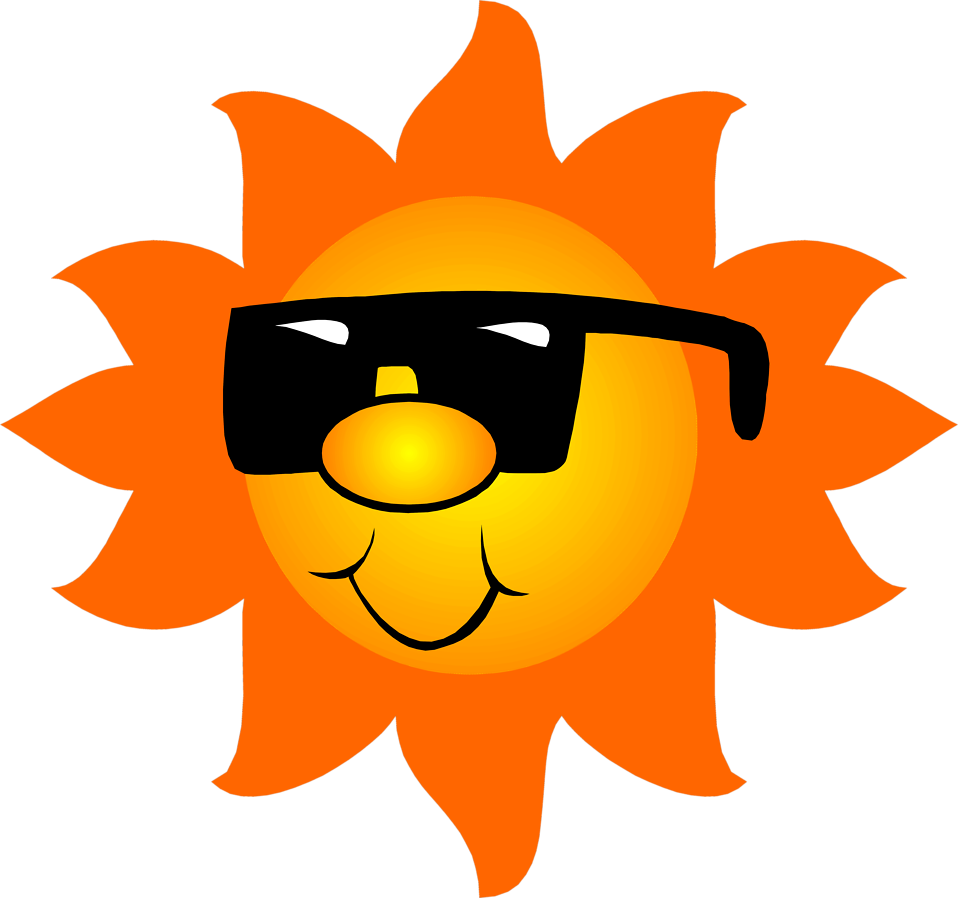 Illustration of the sun wearing sunglasses : Free Stock Photo