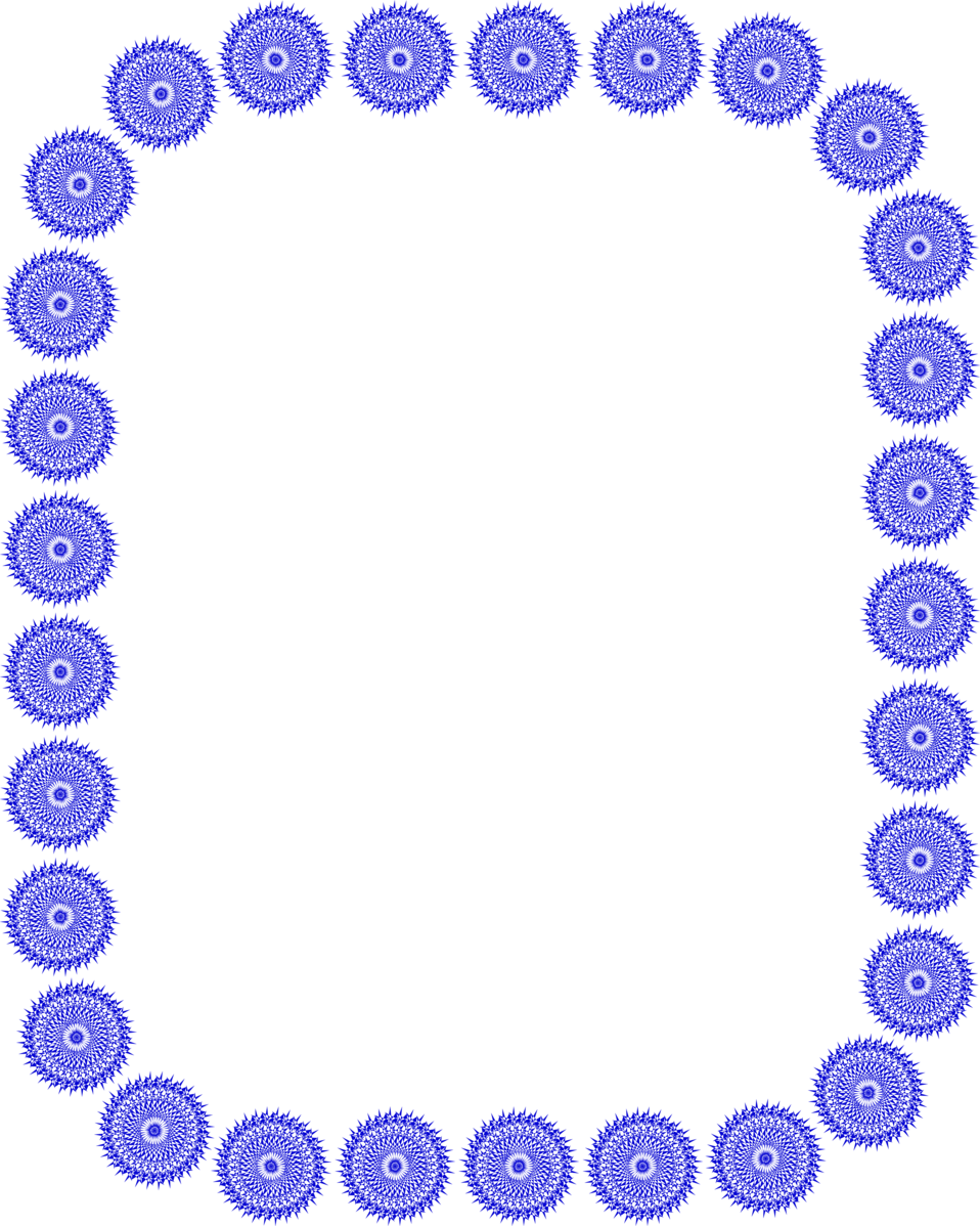 Illustration of a blank frame border of blue shapes : Free Stock Photo