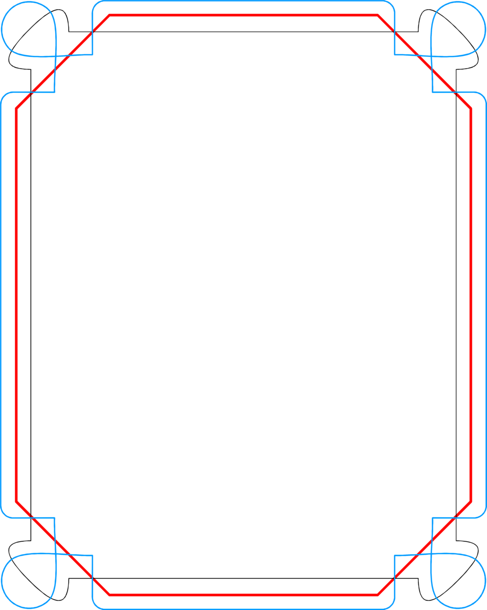 Illustration of a blank blue and red frame border : Free Stock Photo