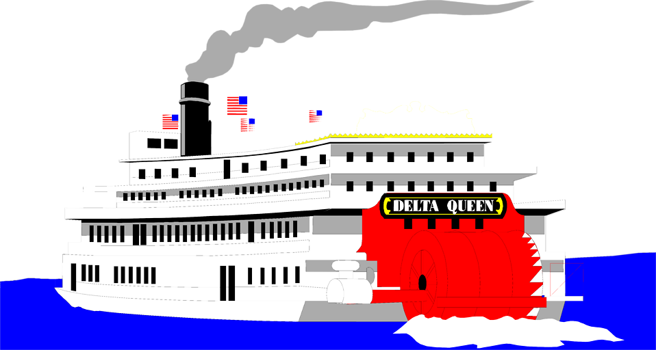 Illustration of a riverboat on the water : Free Stock Photo