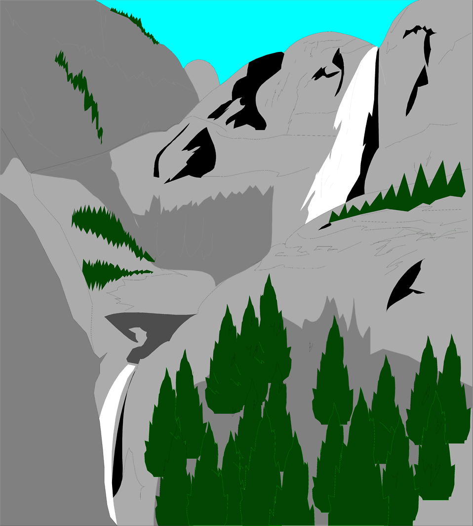 Illustration of stone mountaints and trees : Free Stock Photo
