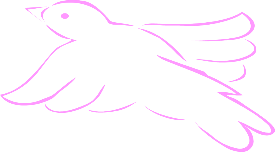 Illustration of a pink flying bird outline : Free Stock Photo