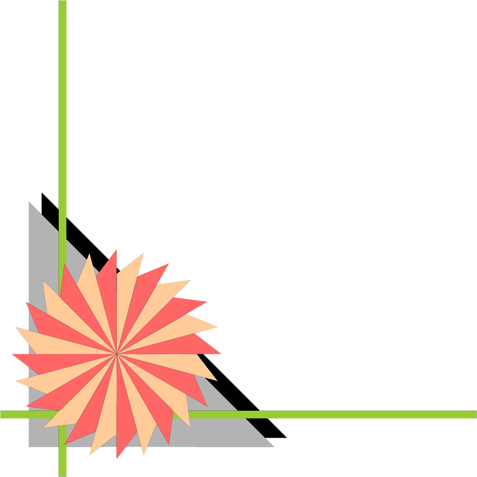Illustration of a lower left frame corner with a pinwheel shape : Free Stock Photo