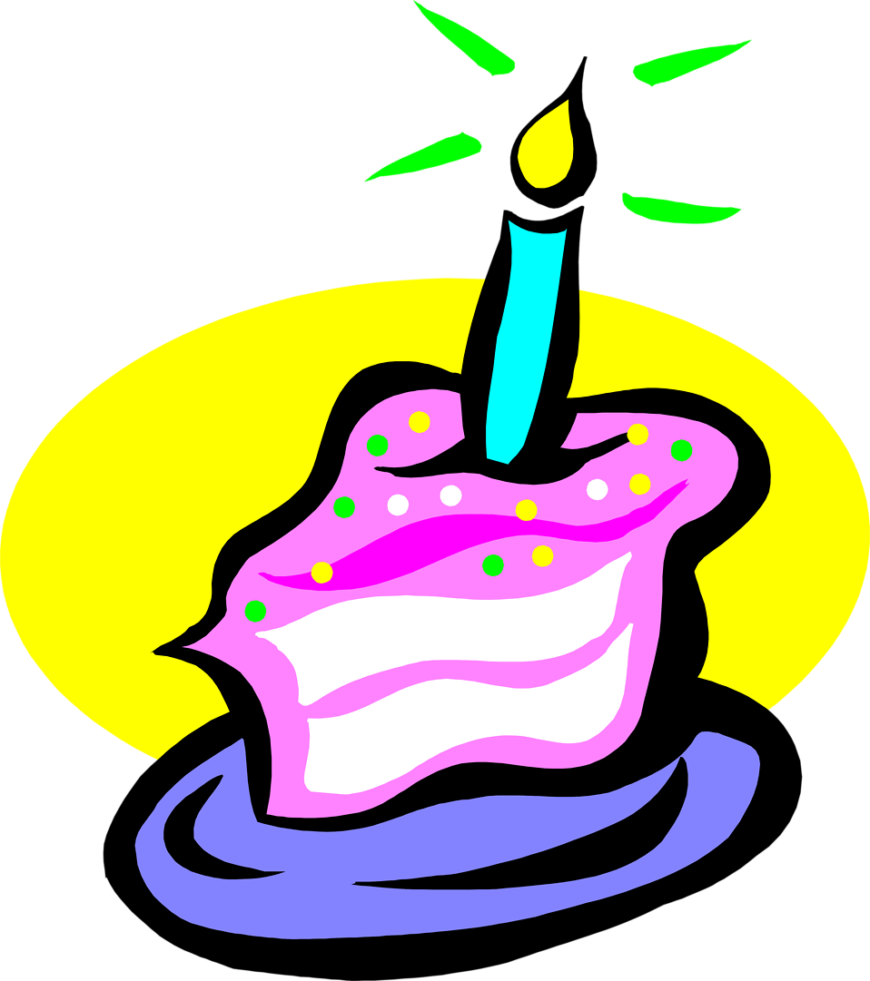 Illustration of a slice of birthday cake with a candle : Free Stock Photo